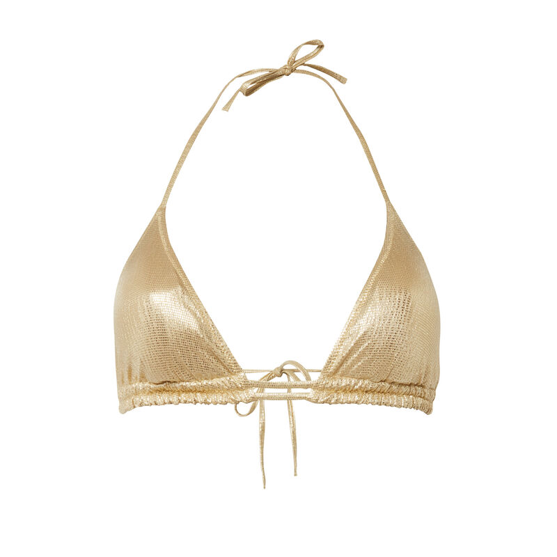 sparkly swimsuit top - gold ;