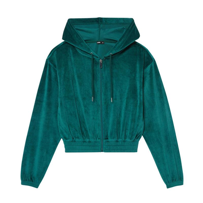 Velvet cropped jacket with an elasticated waist - fir;