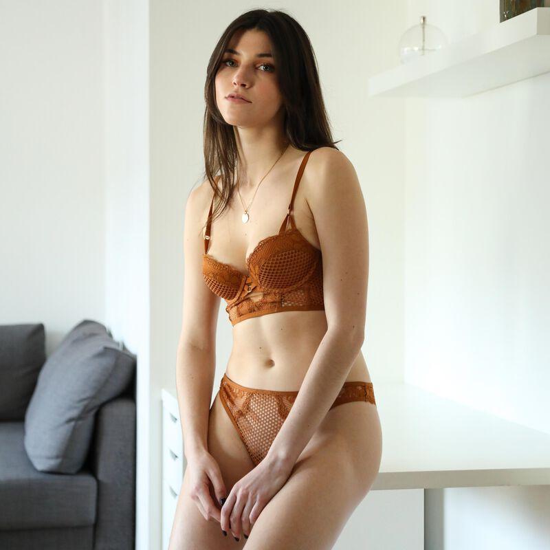 Openwork lace push-up bustier bra - brown;