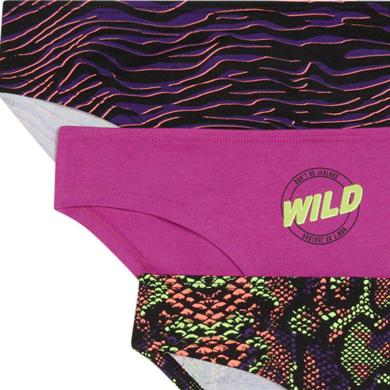 Pack of 3 pairs of knickers with snake print - black ;