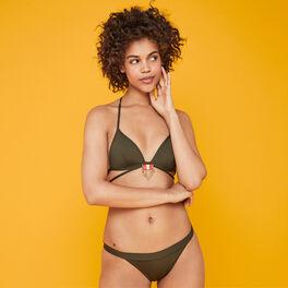 Sahariz khaki triangle bikini top green.
