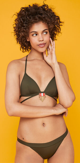Sahariz khaki triangle bikini top green.
