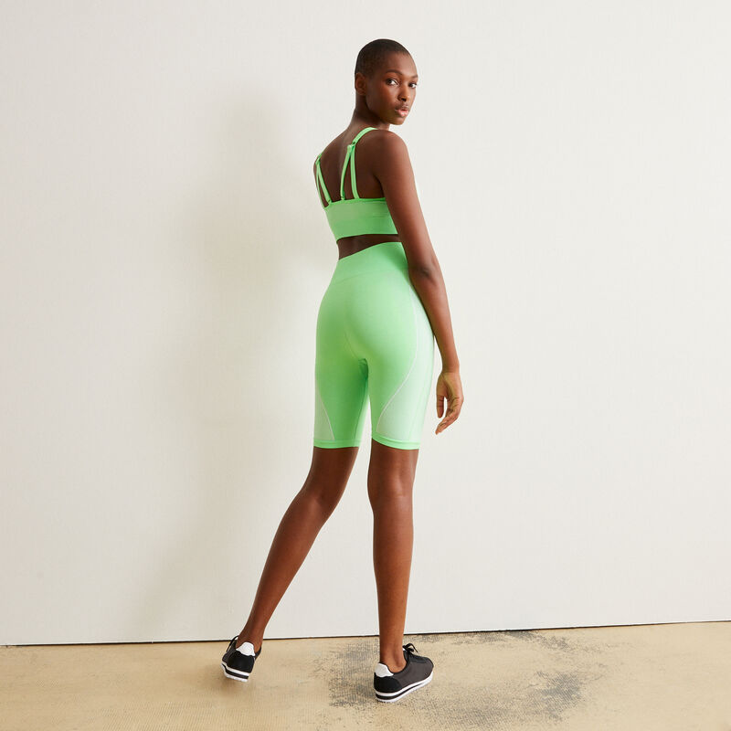 Los Angeles slogan pattern cycling shorts - green;