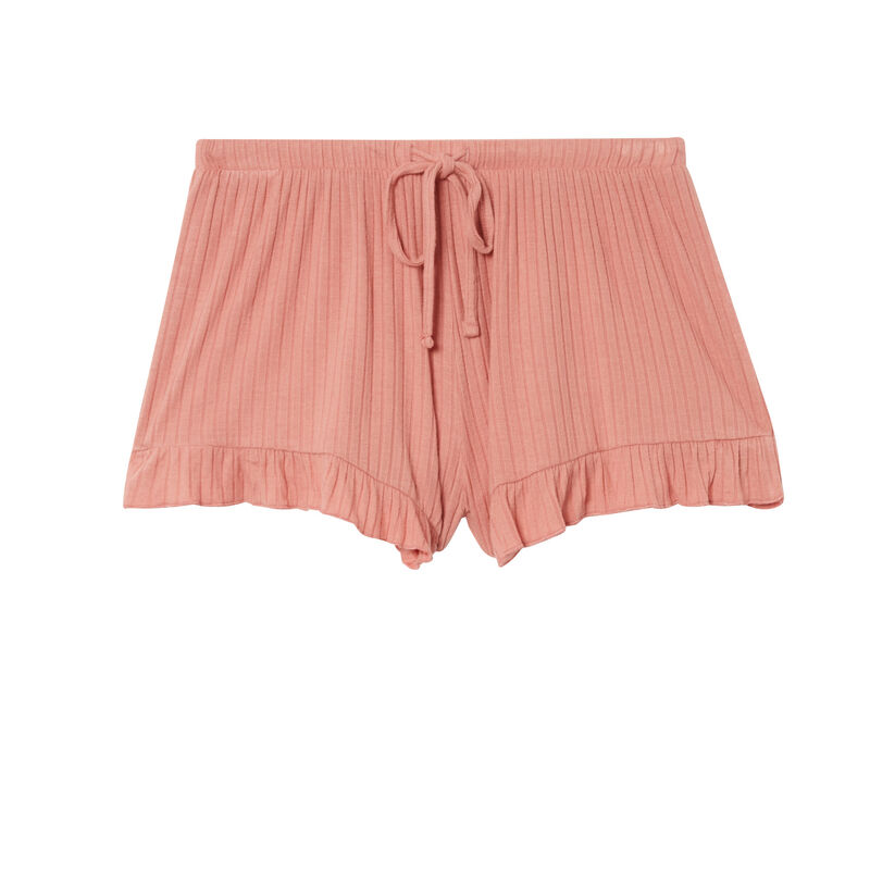 ruffled shorts with low cut bows - nude pink;