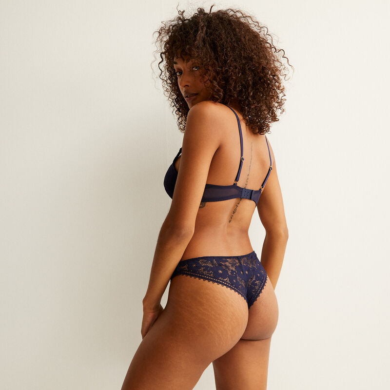 Lace tanga brief with ringlet waistband - navy;