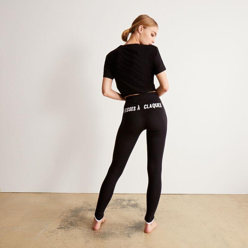 leggings with fesses à claque (buttocks to slap) print - black;