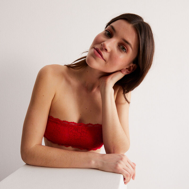 non-wired corset-effect bandeau bra - red;