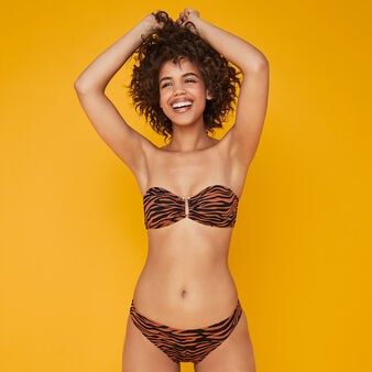 Afrozebriz brown bandeau bikini top brown.