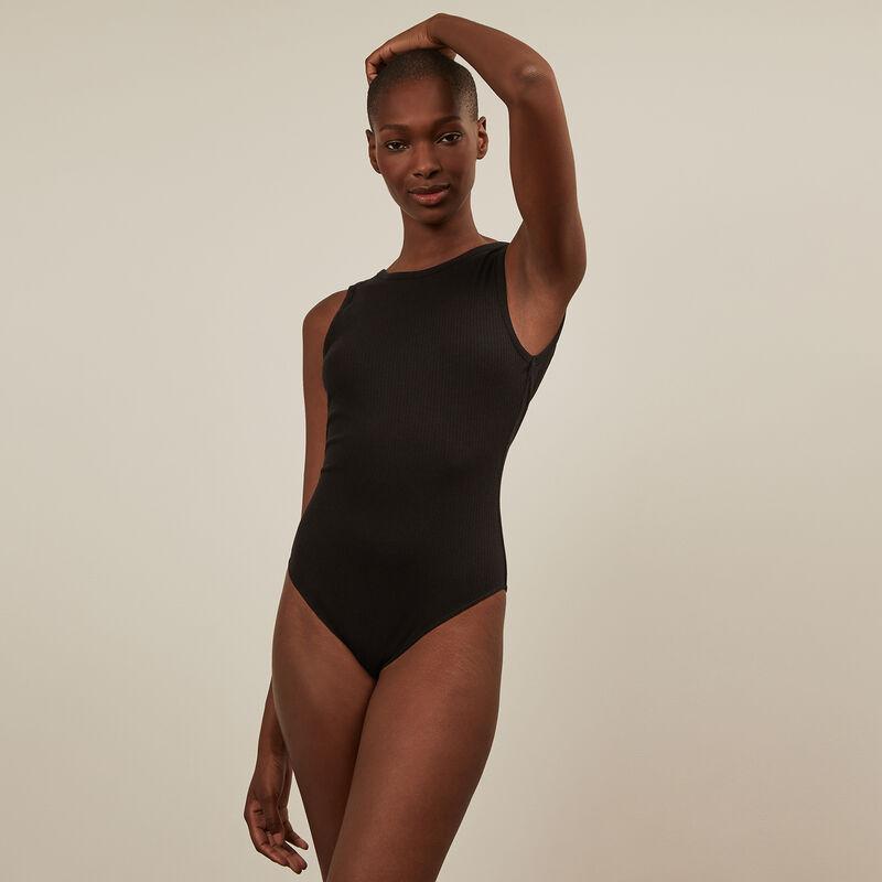Open back sleeveless bodysuit - black;