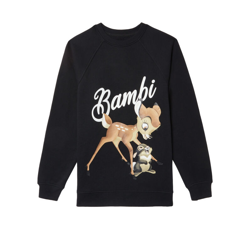 bambi print sweatshirt - black;