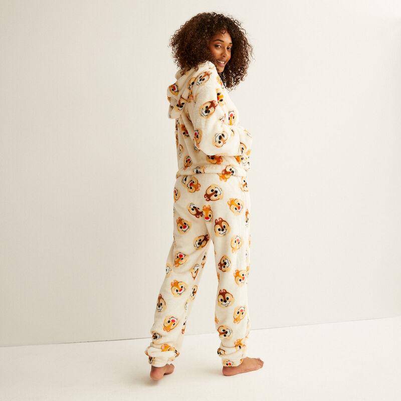 polarowe spodnie ze wzorem Chip i Dale — kremowe;