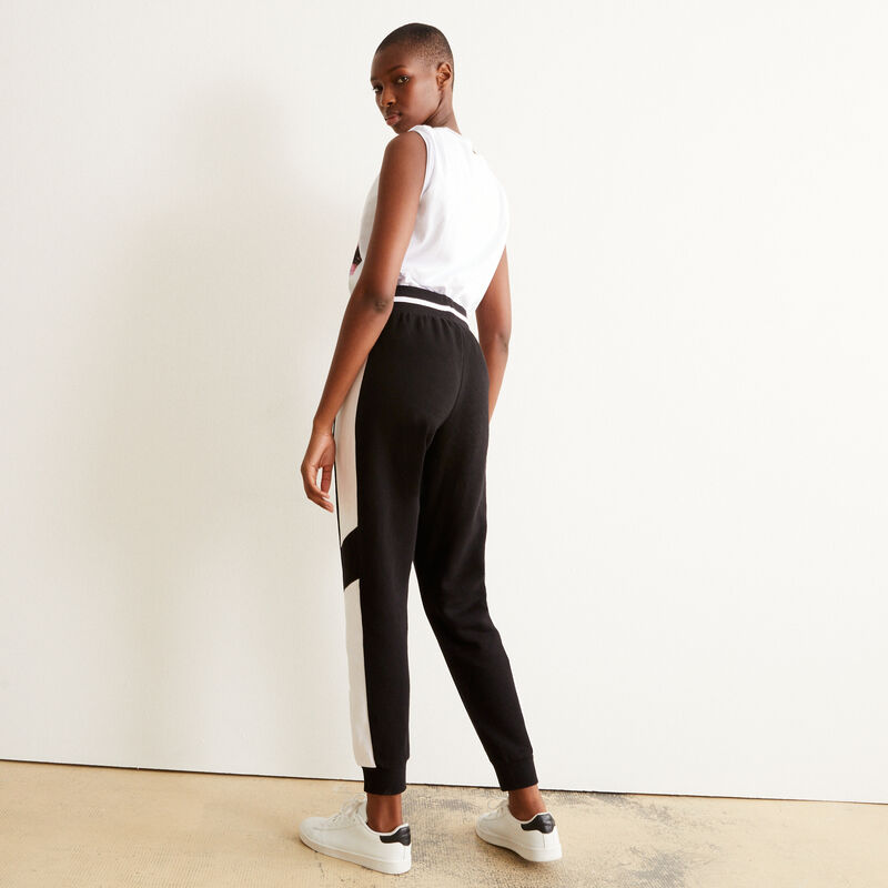 Tie trousers with white bands - black;