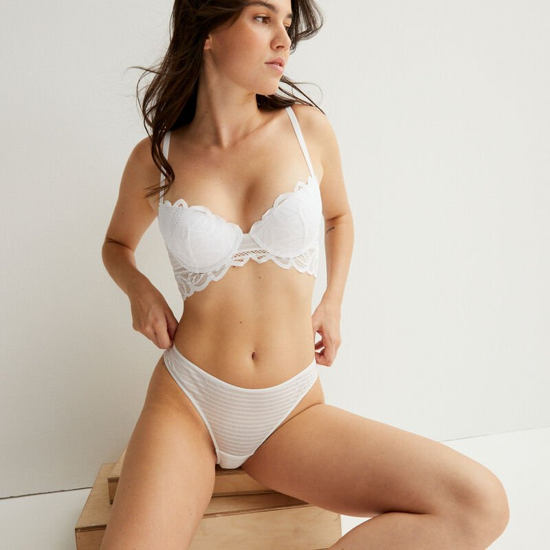 double lace padded bra - white;