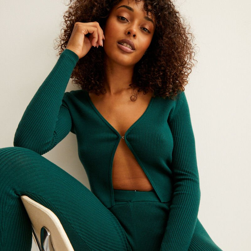 knitted top with hook fastening - fir green;