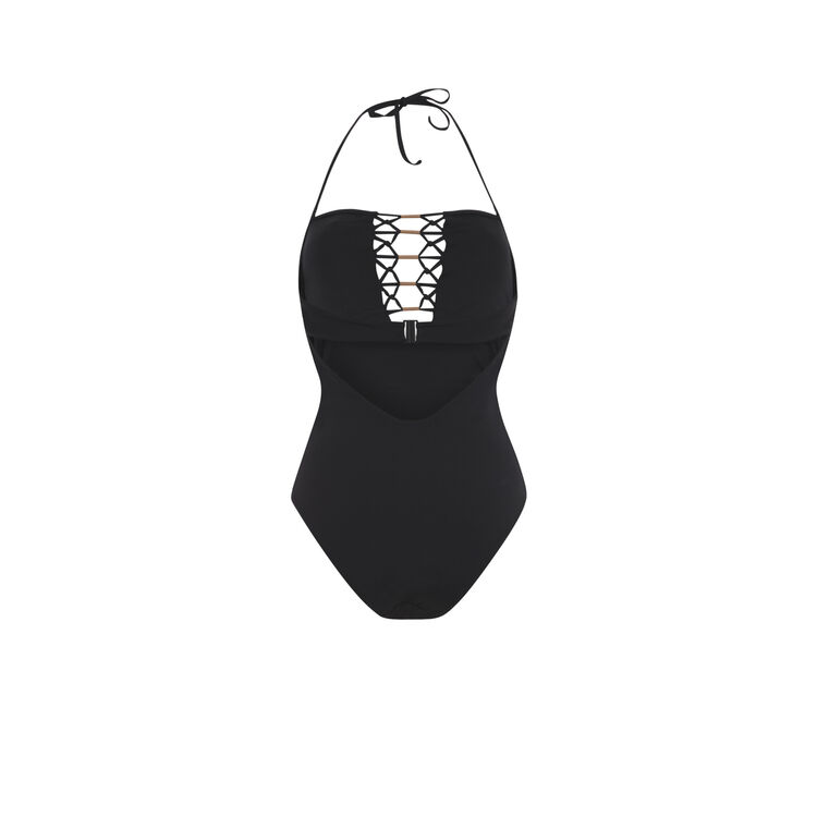 Черный слитный купальник afrotubiz;