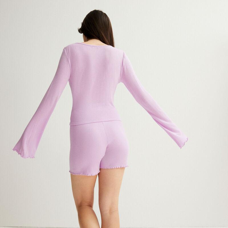 ribbed jersey shorts - lilac;