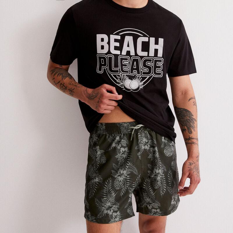 tropical print swim shorts - khaki ;