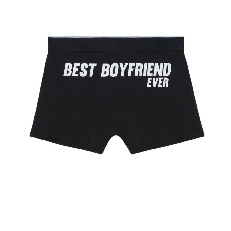 boxers with best boyfriend ever print - black;
