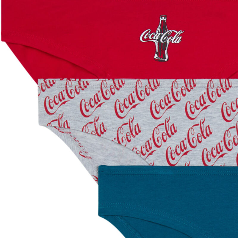Pack of 3 coca-cola knickers - grey;