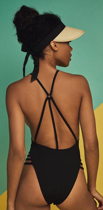Corossoliz one-piece black swimsuit czarny.
