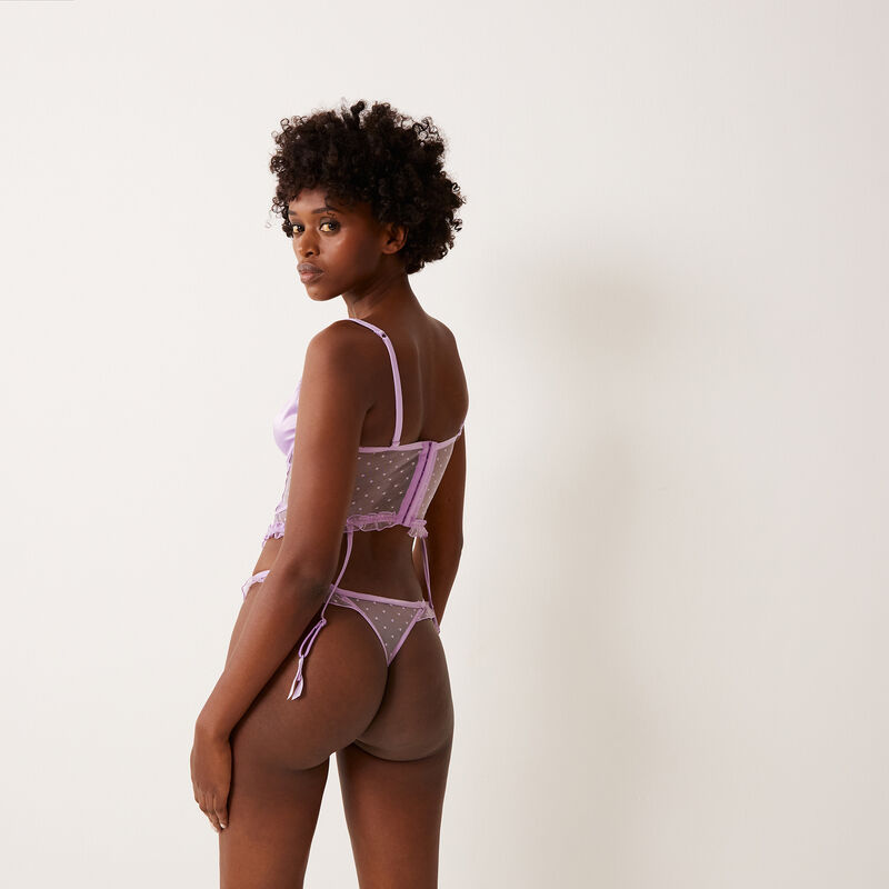 satin and lace thong - lilac;