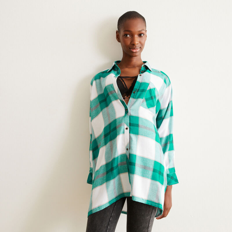 Checked tunic - green;