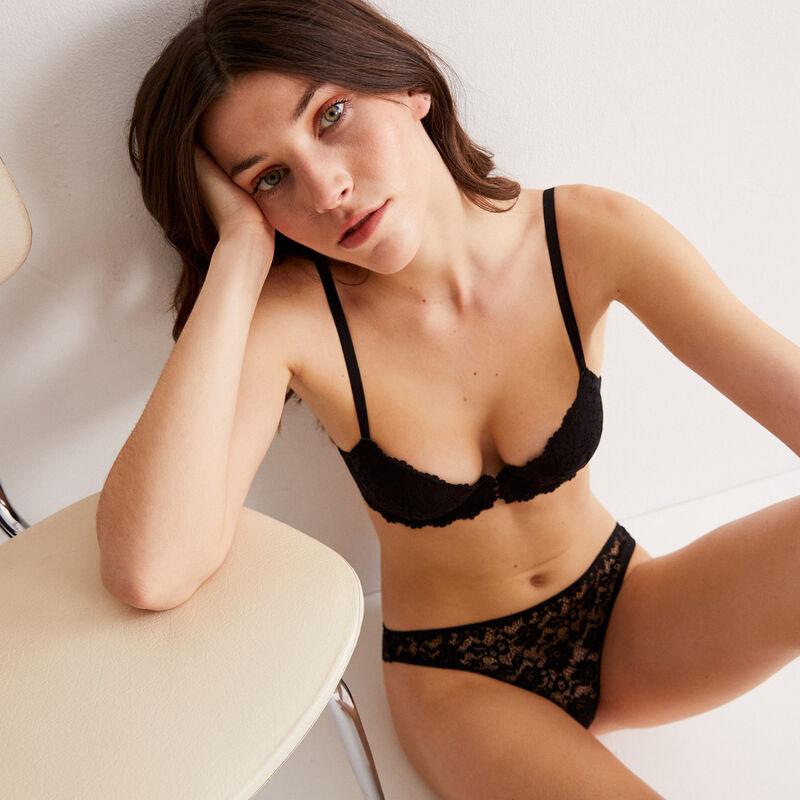 floral lace push-up bra - black;