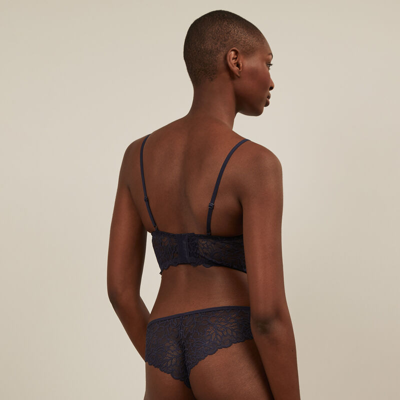 Lace tanga briefs - navy blue ;
