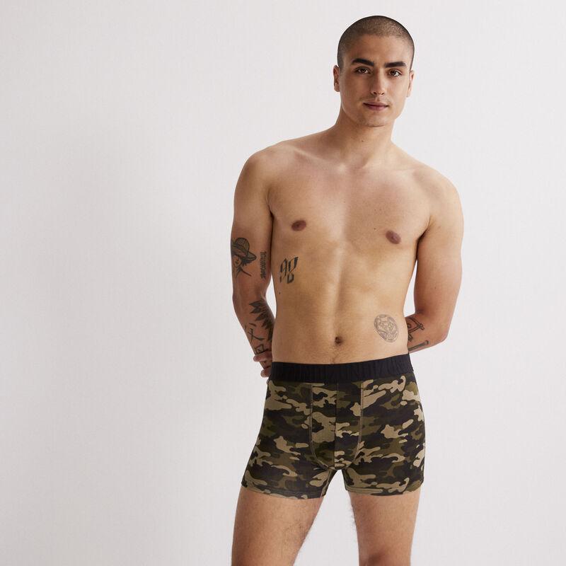 Camo print boxers - black;