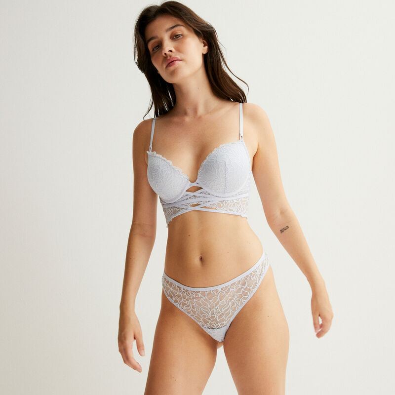 push-up bra with lace tie - blue;