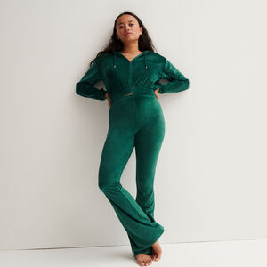 High-waisted velvet bellbottom trousers - fir