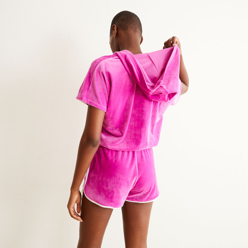 Zipped velour playsuit with hood - pink;