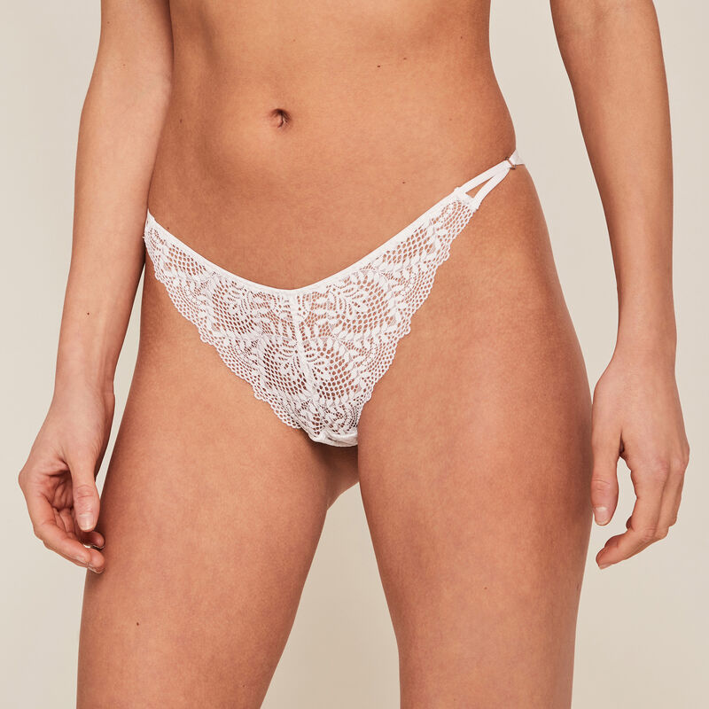 Lace tanga briefs - white ;
