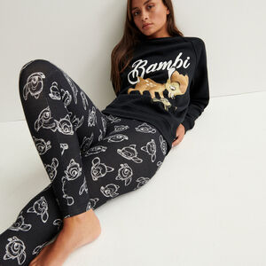 bambi print leggings - black
