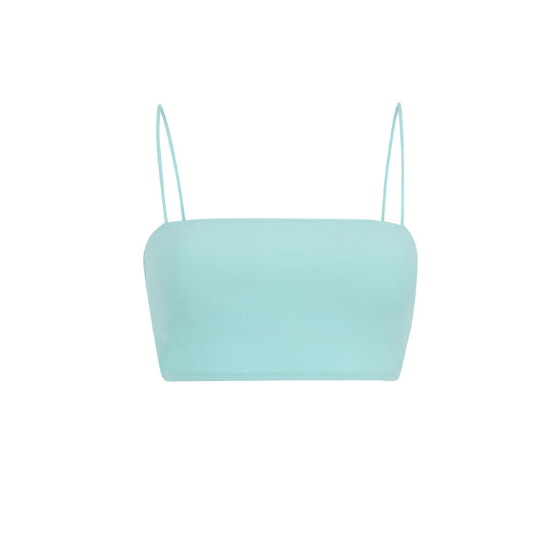 Plain bandeau bikini top - turquoise;