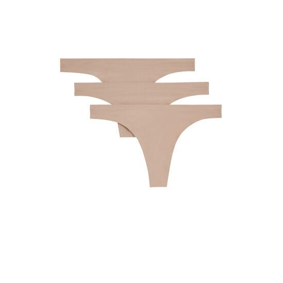 Pack of nude microfibre thongs;