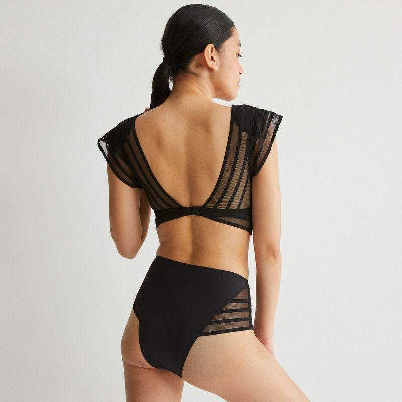 high-waisted lace detail briefs - black;