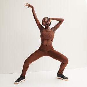 satin effect mesh leggings - black