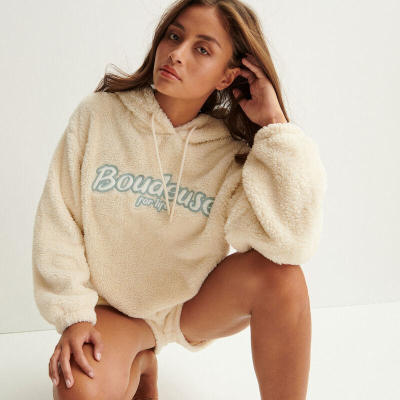 """boudeuse for life"" fleece hoodie - off-white;"