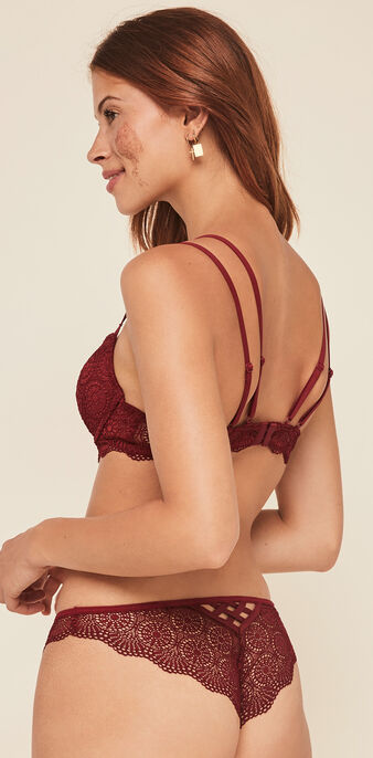 Totoiz  push-up bustier bra with tie detailing burgundy.