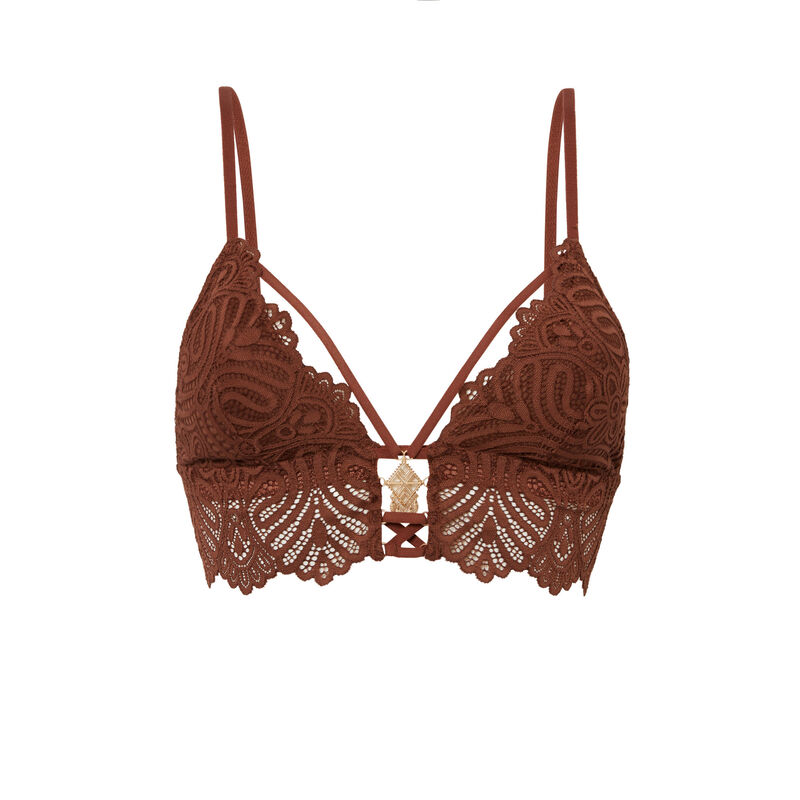 lace triangle bra - brown;