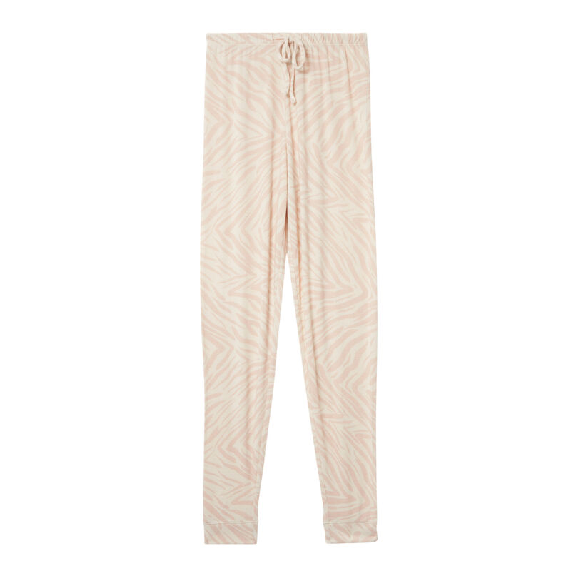 zebra print trousers - nude pink;