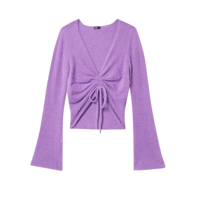 fleece crop top with ties - purple;