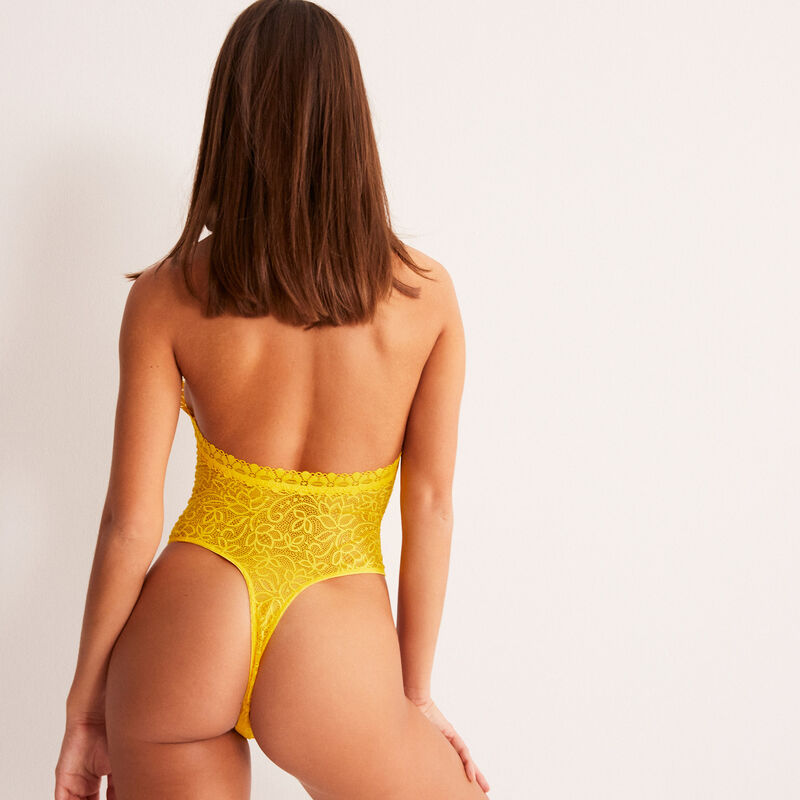 Open back bodysuit with neckline details - yellow;