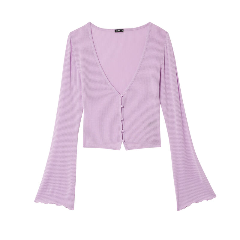 long-sleeved buttoned top - lilac;