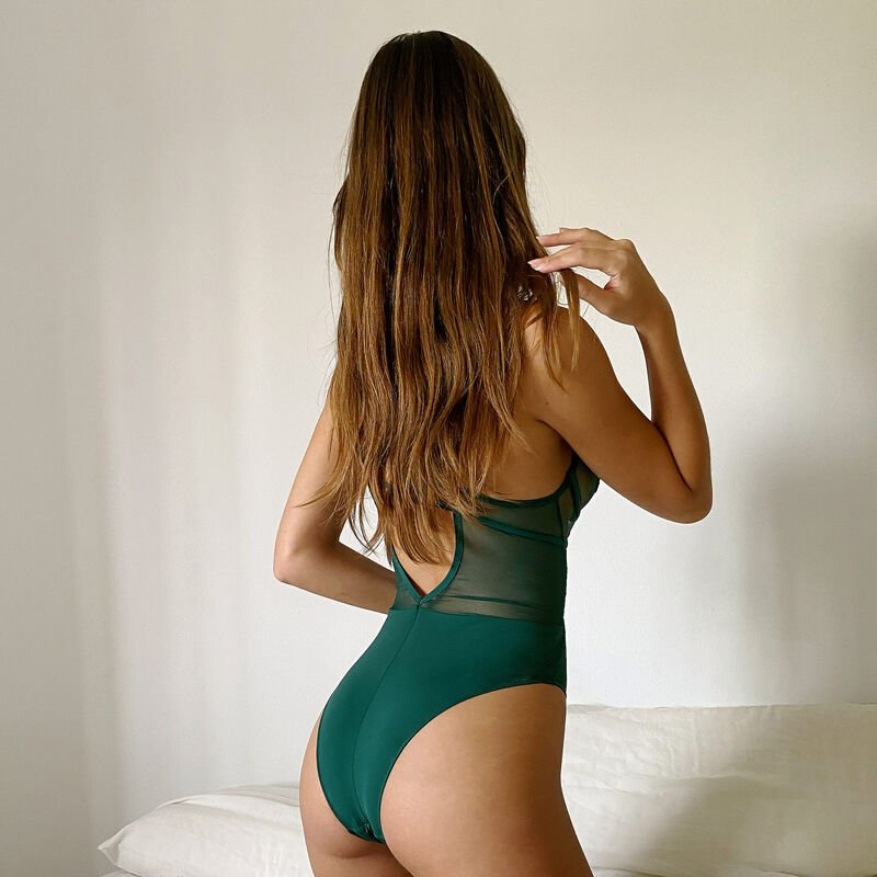 balconette guipure body with back straps - fir green;