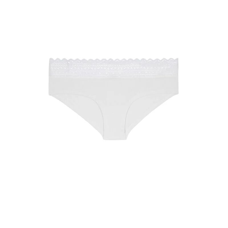 cotton hipsters with lace - cream;