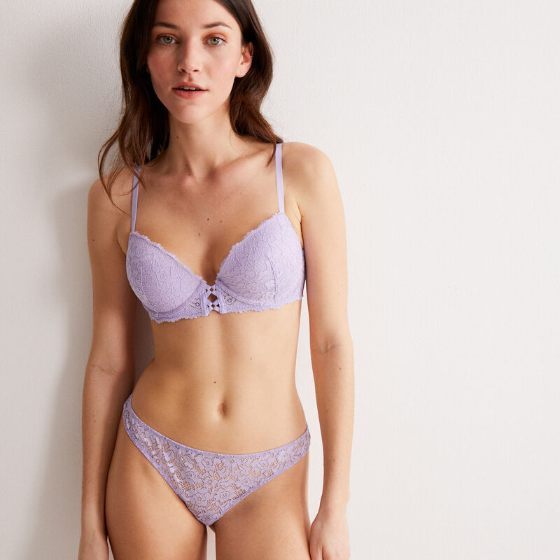 floral lace push-up bra - lilac;
