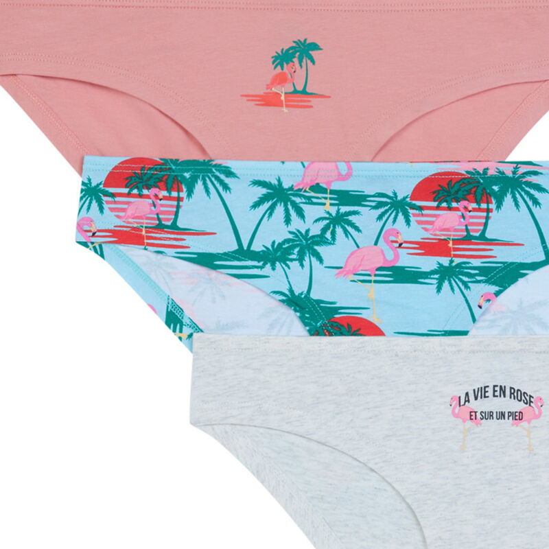 Pack of 3 pairs of knickers with palm tree print - pale pink;