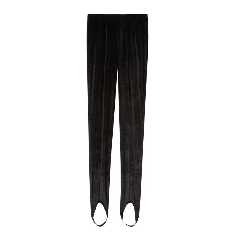 błyszczące, aksamitne legginsy ze sznurkami — czarne;